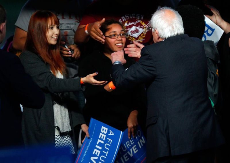 LOUISVILLE, KY - MAY 3: Democratic presidential candidate Bernie Sanders shakes hands with campaign supporters after a campaign rally at the Big Four Lawn park May 3, 2016 in Louisville, Kentucky. Sanders is preparing for Kentucky's May 17th primary.    (Photo by John Sommers II/Getty Images)