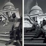 Disabled people crawling up the steps of the US capitol building