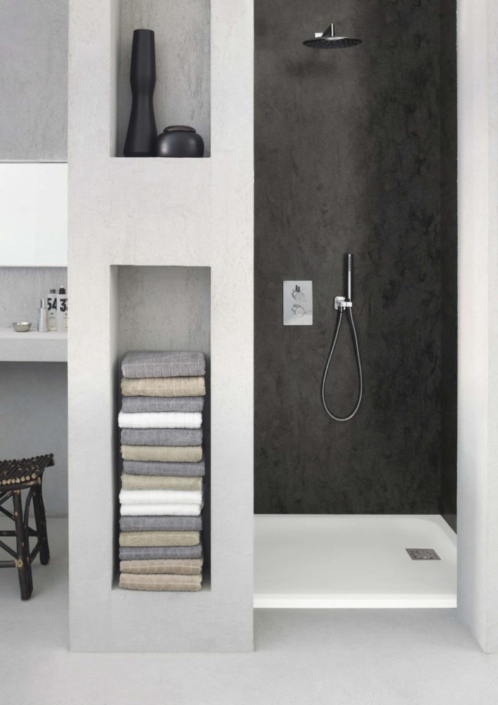 seamless corian shower walls