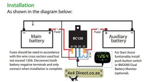HBC Dual Battery Monitor  4x4 Direct