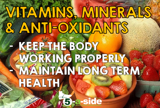 Football Diet - Vitamins Minerals Anti-Oxidants