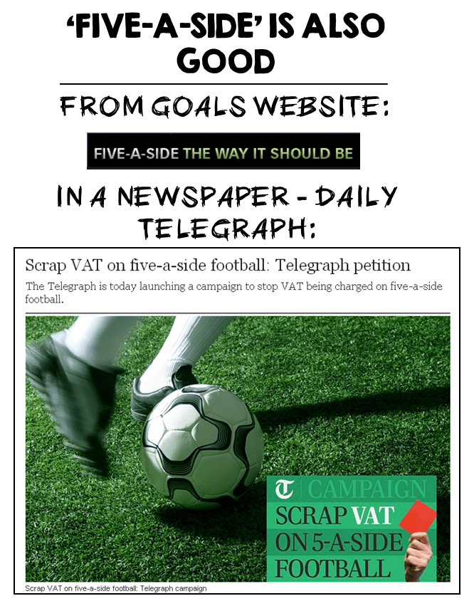 GOALS TELEGRAPH FIVE-A-SIDE