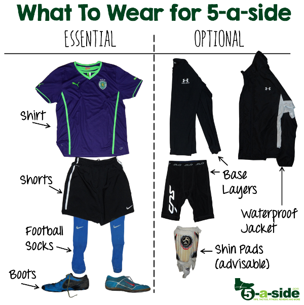 5-a-side kit what to wear. 5-a-side astroturf, indoors and futsal