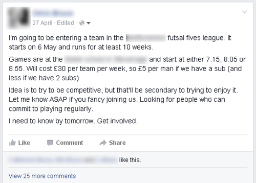 Facebook Football Player Advert