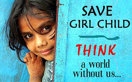 "Affiche de la campagne ""Save Girl Child"" de l'ONG W-Women Globally (2009)"