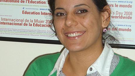 Nadia Shabana, dans les locaux de l'ITUC, à Amman.