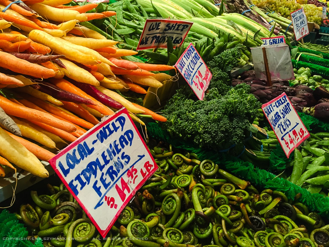 Pike Place Market in Seattle, Veggies stand