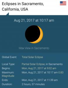 Sacramento Eclipse Info