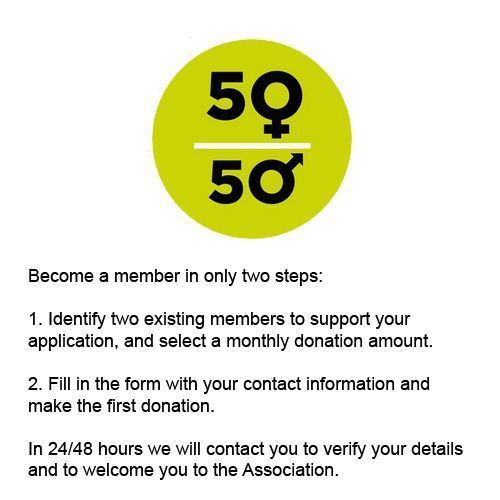 Sign up as a member of 50a50