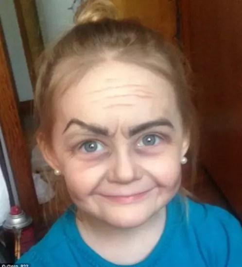 """A pequena Roey, 3, transformada em """"velhinha"""""""