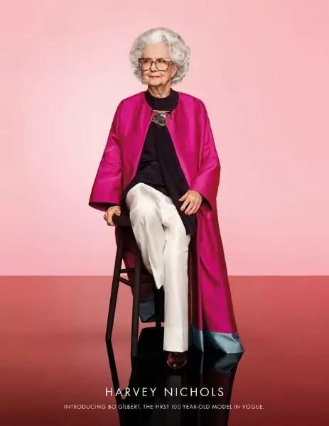 Bo Gilbert no anúncio que a Vogue vai veicular da famosa loja de departamentos londrina Harvey Nichols