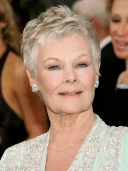 Acho uma graça o cabelo da atriz britânica Judy Dench