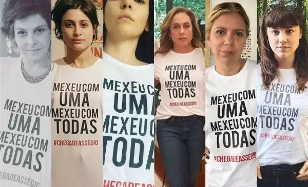 Drica Moraes, Luisa Arraes, Tainá Müller, Cissa Guimarães, Astrid Fontenelle e Alice Wegmann publicaram fotos com camisa de campanha contra assédio (Foto: Reprodução/Instagram das artistas)
