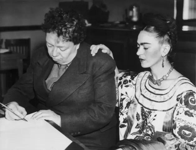 Frida com Diego Rivera. Eles se divorciaram, mas tornaram a se casar