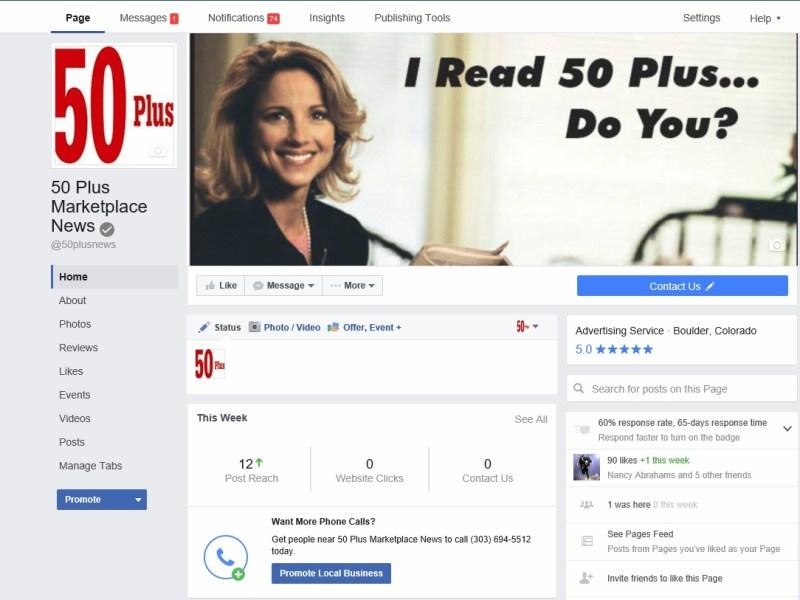 50 Plus Facebook page 2016