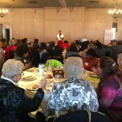 Darieth Chisolm shares her cyber assault story during Lawrence County Women's Conference
