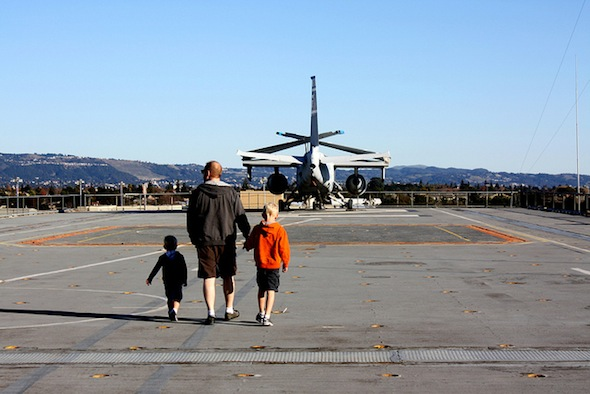 Alameda's USS Hornet with kids