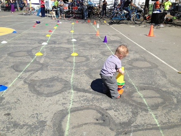 Berkeley bike rodeo: Sawyer helps the cyclists find their way