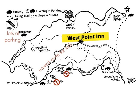 How to hike in and park when going to West Point Inn