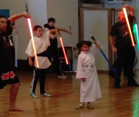 Golden Gate Knights Star Wars lightsaber training: little Leia