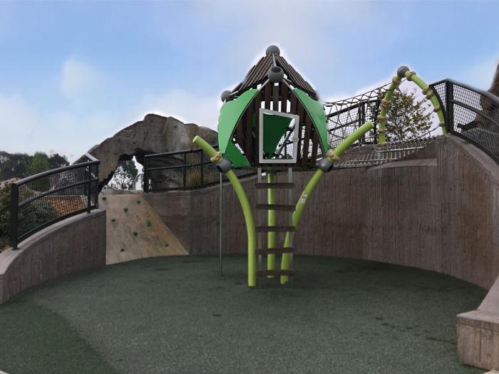 Rope Treehouse (big openings on sides keep close eye)
