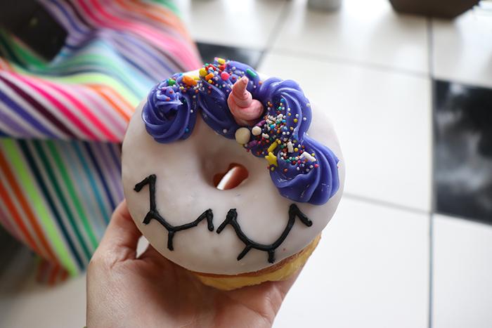 rainbow unicorn donut