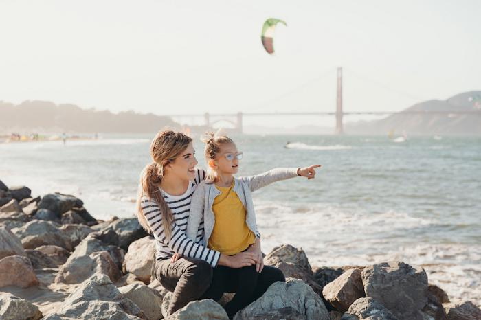Mom and kid at Crissy Field San Francisco
