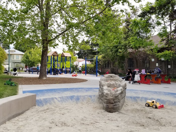 Becky Temko Tot Park water and sand play area