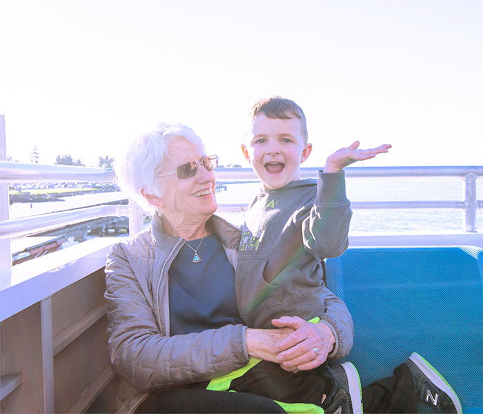 Grandparent and grandchild on the SF Ferry