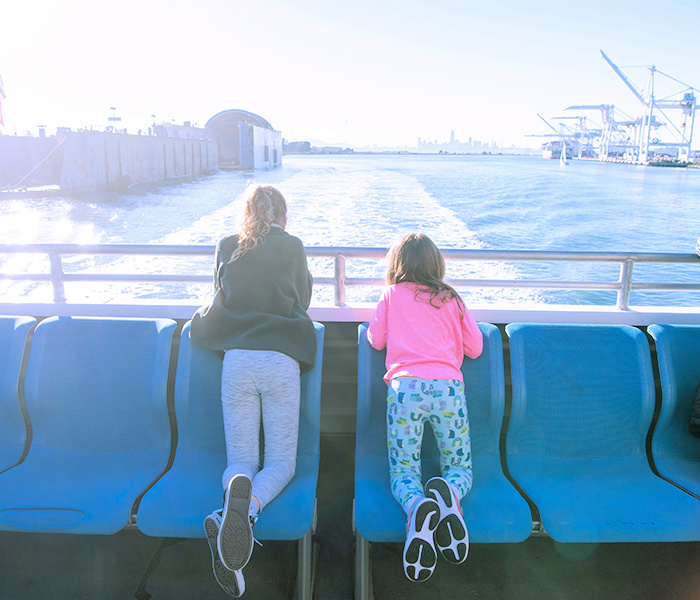 Kids watching the Bay go by on the SF Ferry