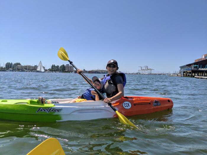 parent and child kayak