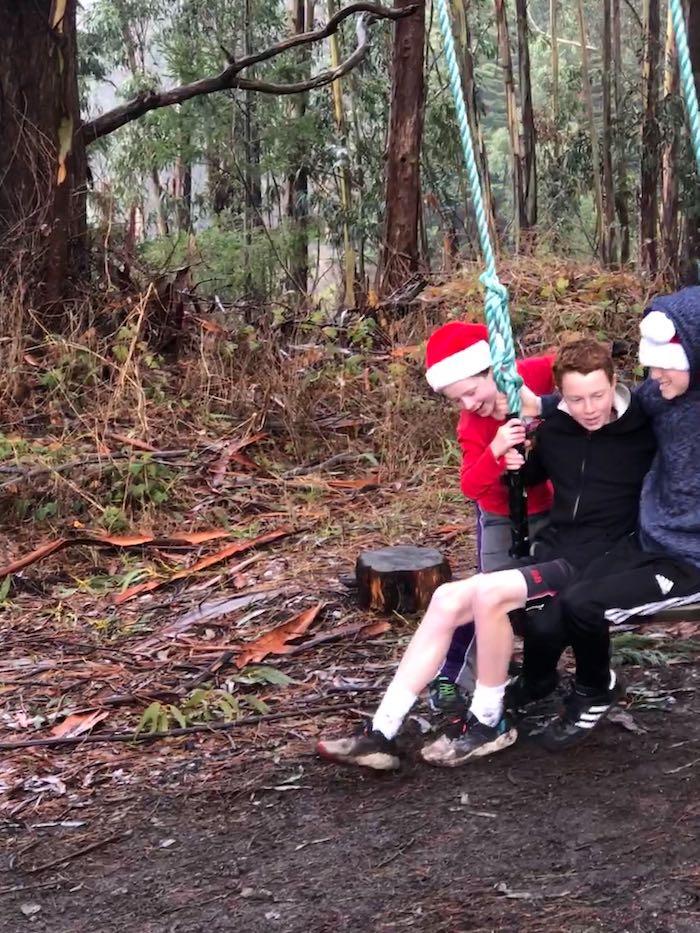 Rancho Siempre Verde kids on tree swing