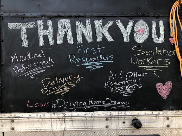 thank you workers chalk message