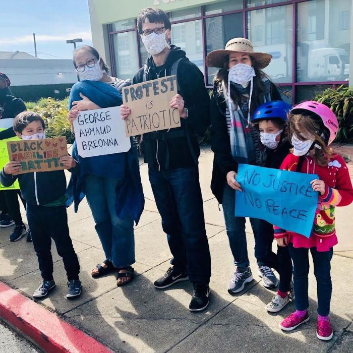 black lives matter protest with kids