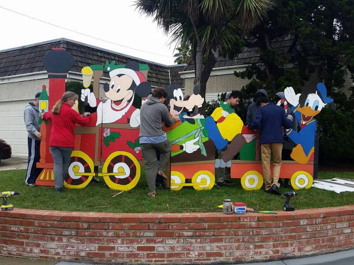 christmas mickey mouse train