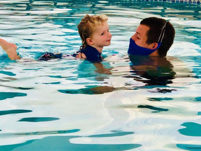 swim lesson for little boy