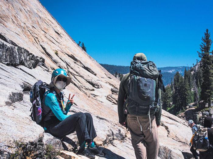 teen hiking on rocky canyon