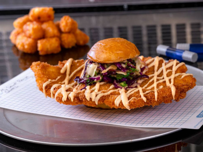 chicken sandwich and tots