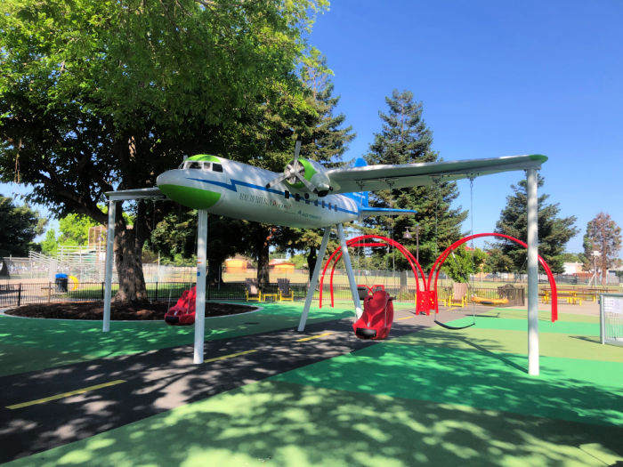 airplane with accessible swings