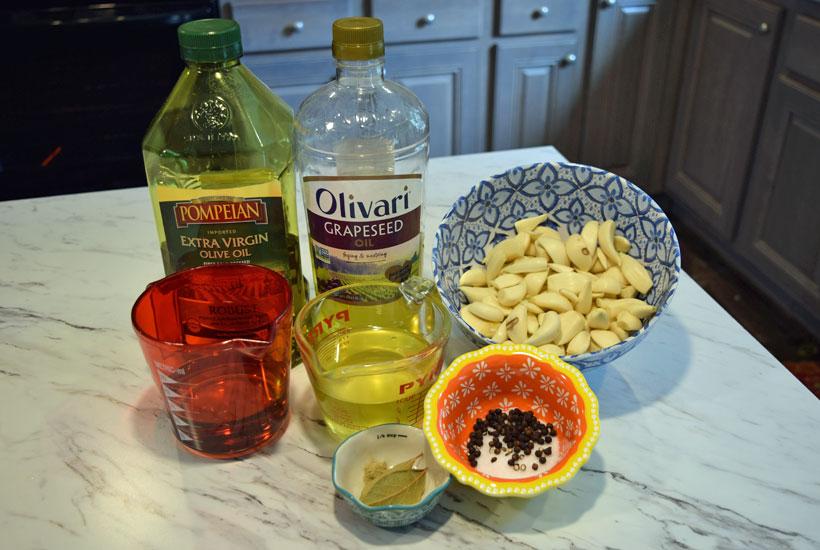ingredients for garlic confit