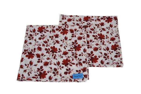 2 red rose single side reusabe napkins