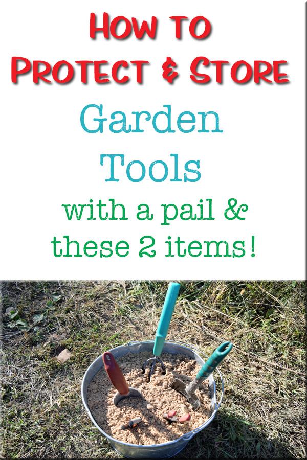 bucket of garden tools