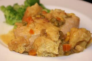 Slow Cooker Chicken and Cornbread Dumplings