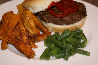 Hamburgers with Sweet Potato Fries | 5DollarDinners.com