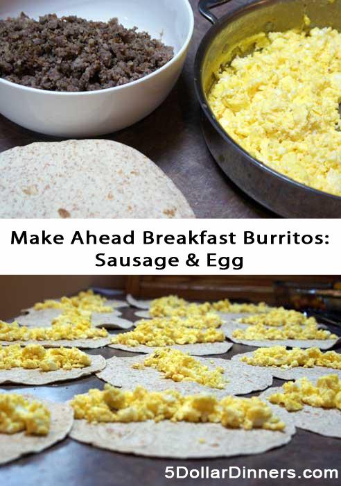 Make Ahead Sausage and Egg Breakfast Burritos   5DollarDinners.com