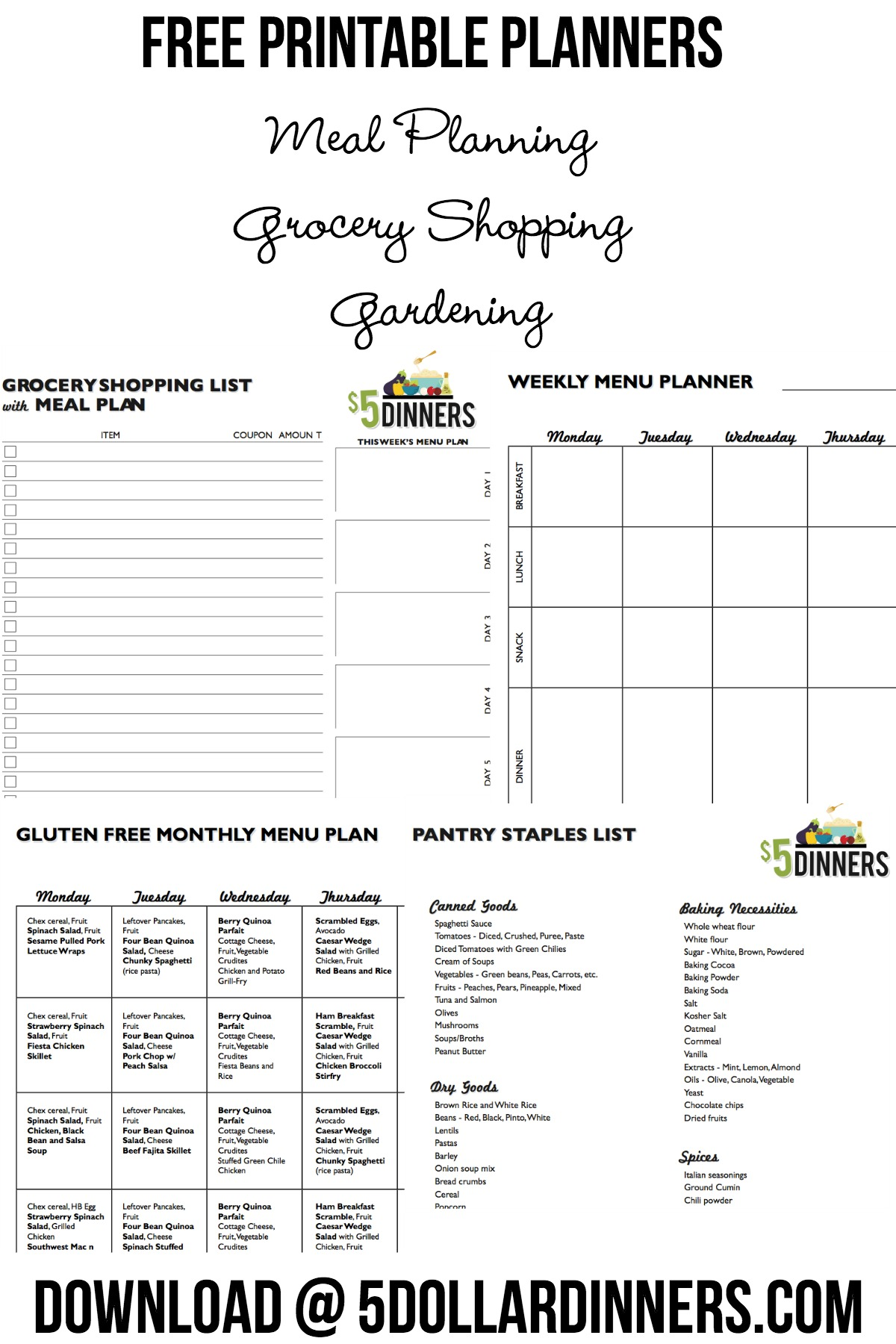 Free Printable Grocery Planners