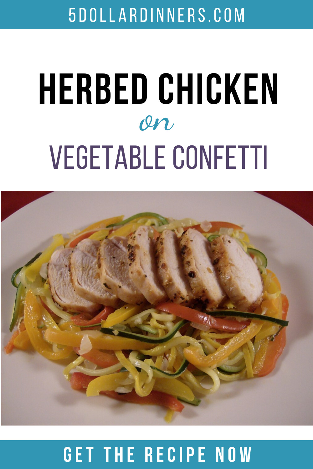 herbed chicken on vegetable confetti