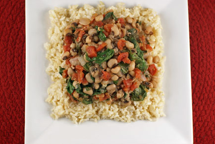 brown rice with black eyed peas and greens