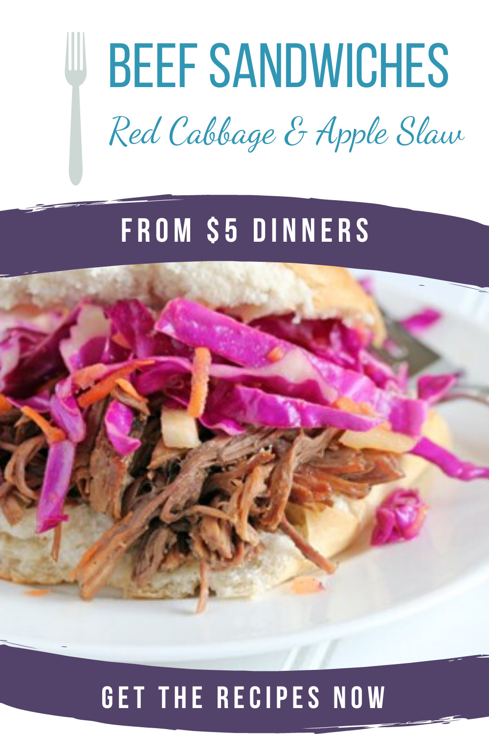 shredded beef sandwiches with red cabbage and apple slaw