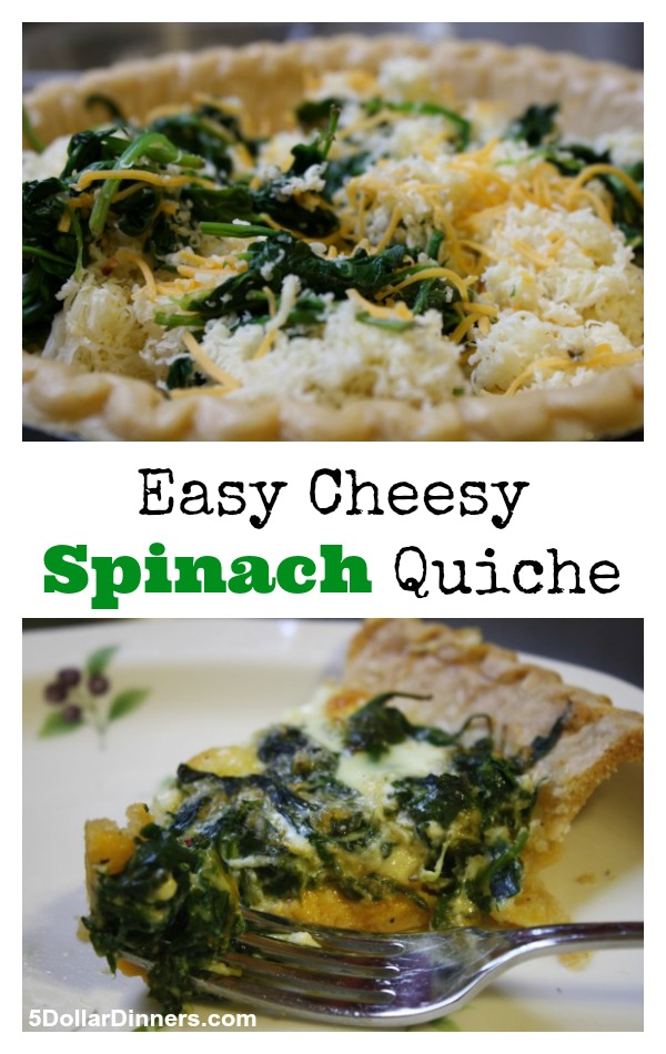 Easy Cheesy Spinach Quiche from 5DollarDinners.com